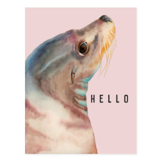 Lazy Glance | Sea Lion Watercolor Illustration Postcard