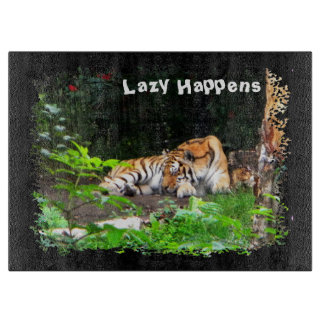 Lazy Happens Siberian Tiger Cutting Board
