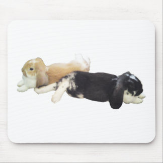 Lazy Rabbits - Bunnies Cute Sleepy Tired Weekend Mouse Pads