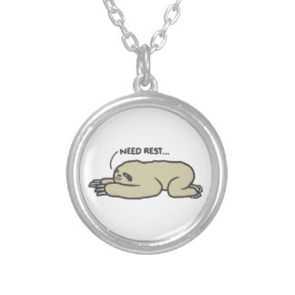 Lazy Sloth Silver Plated Necklace