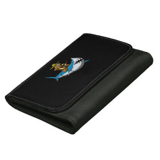 Lazy Sloth With Guitar Riding Shark Leather Wallets