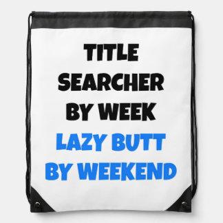 Lazy Title Searcher Joke Drawstring Bag