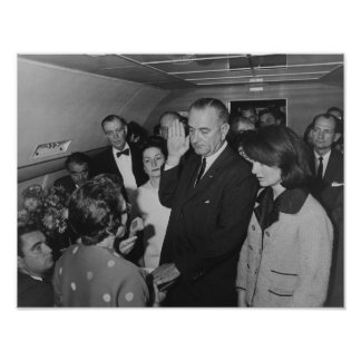 LBJ Taking The Oath On Air Force One Poster