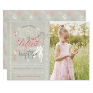 LDS PHOTO BAPTISM INVITATION | Floral Typography