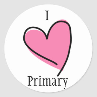 LDS Primary Stickers - I Heart Primary pink