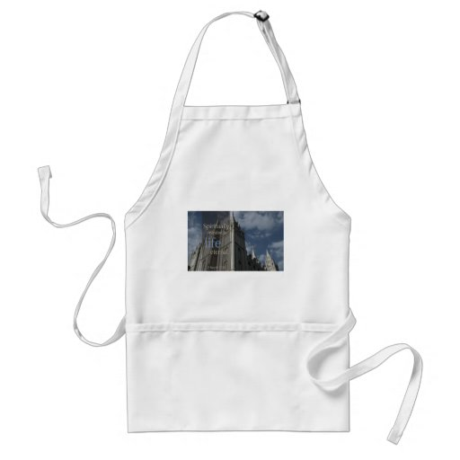 """LDS Quotes """"Spiritually Minded is Life Eternal"""" Apron"""