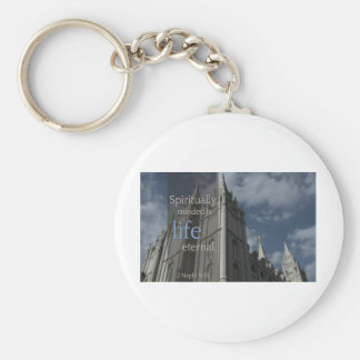 "LDS Quotes ""Spiritually Minded is Life Eternal"" Key Ring"