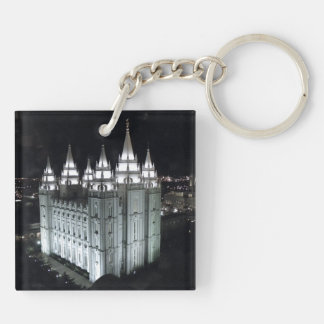 LDS Salt Lake City Temple at Night Key Ring