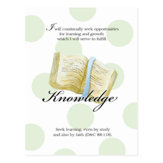 LDS YW Value Card - Knowledge Postcard