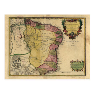 Le Bresil (Brazil) by Nicolas de Fer from 1719 Postcard