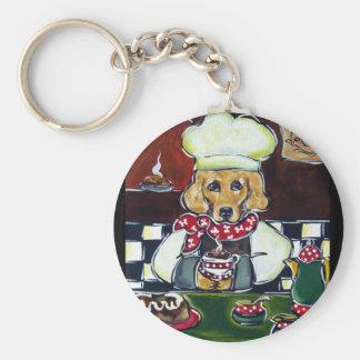 Le Cafe Golden Retriever Basic Round Button Key Ring