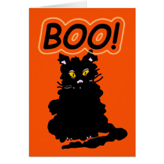 "Le Chat Claude's  Cousin ""Boo"" Halloween Card"