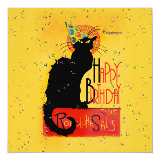 Le Chat Noir - Happy Birthday Greetings Personalized Invite