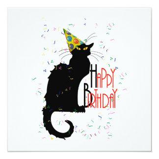 "Le Chat Noir - HAPPY BIRTHDAY! 5.25"" Square Invitation Card"