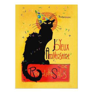 Le Chat Noir - Joyeux Anniversaire 17 Cm X 22 Cm Invitation Card