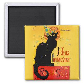 Le Chat Noir - Joyeux Anniversaire -Happy Birthday Square Magnet