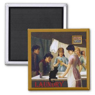 Le Chat Noir Laundry Room Square Magnet