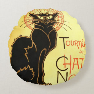 Le chat noir,Original billboard Round Cushion