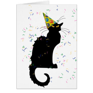 Le Chat Party Hat & Confetti Card