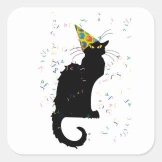 Le Chat Party Hat & Confetti Square Sticker