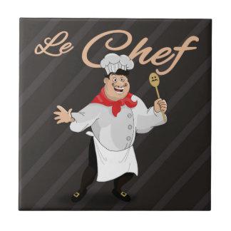 Le chef french cartoon kitchen cook art mustache tile