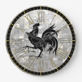 Le coq noir Mother of Pearl Pattern Large Clock