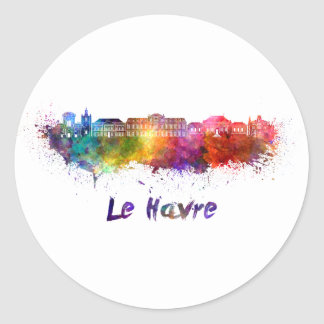 Le Havre skyline in watercolor Classic Round Sticker