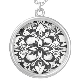 Le Liza Designs Large Silver Plated Round Necklace