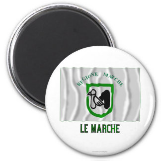 Le Marche waving flag with name Magnets