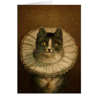 """""""Le Meow"""" Fancy Vintage Cat Card"""
