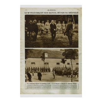Le Miroir 1918, Marachal Foch with French troops Poster