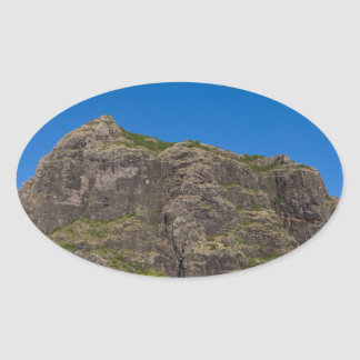 Le Morne Brabant Mauritius with blue sky Oval Sticker