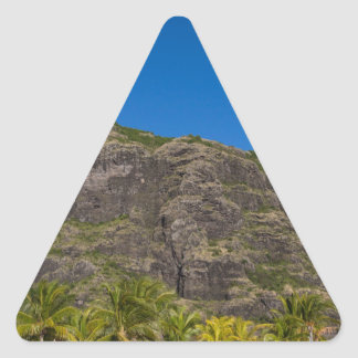 Le Morne Brabant Mauritius with blue sky Triangle Sticker