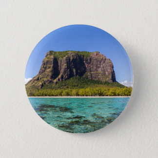 Le Morne Brabant Mauritius with sea panoramic 6 Cm Round Badge