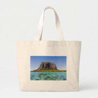Le Morne Brabant Mauritius with sea panoramic Large Tote Bag