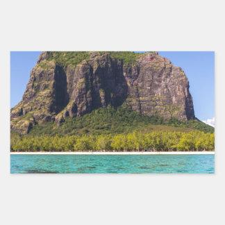 Le Morne Brabant Mauritius with sea panoramic Rectangular Sticker