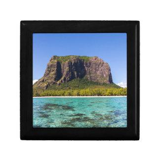 Le Morne Brabant Mauritius with sea panoramic Small Square Gift Box