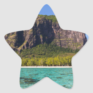 Le Morne Brabant Mauritius with sea panoramic Star Sticker