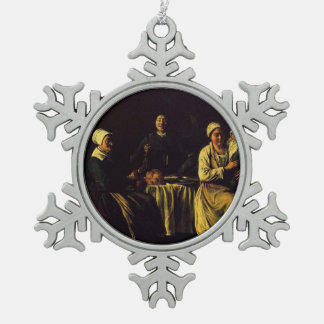 Le Nain brothers- The happy family Pewter Snowflake Decoration