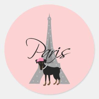 Le petit chien à Paris Classic Round Sticker