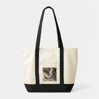Le Pont de L'Europe: detail of a resting man and a Tote Bags