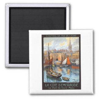 Le Port de Saint Malo France Vintage Travel Fridge Magnet