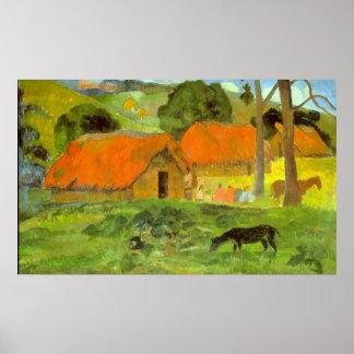 Le Trois Huttes by Eugène Henri Paul Gauguin Posters