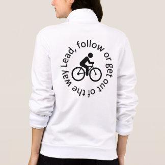 """Lead, Follow"" cycling jackets for women"