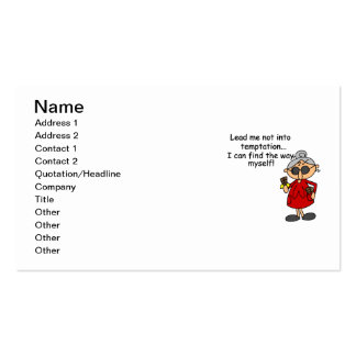 Lead Me Not Into Temptation Humor Business Card Template