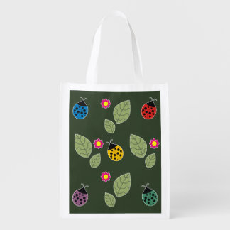 Leaf and beetle reusable grocery bag