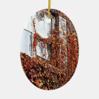 Leaf And Vine Covered Window Ceramic Oval Decoration