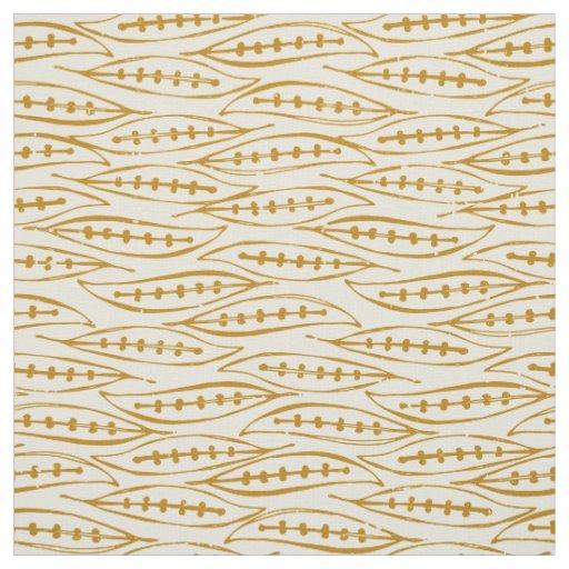 leaf block gold ivory fabric