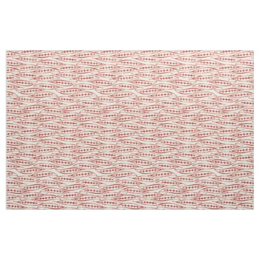leaf block red ivory fabric