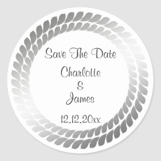 Leaf Circle Customizable Wedding Round Sticker